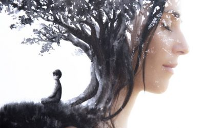 Paintography. Close up profile portrait combined with black ink painting of person meditating under a large tree